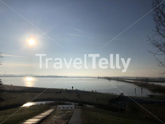 View from a hill in the Mayor Rasterhoffpark in Sneek, Friesland The Netherlands