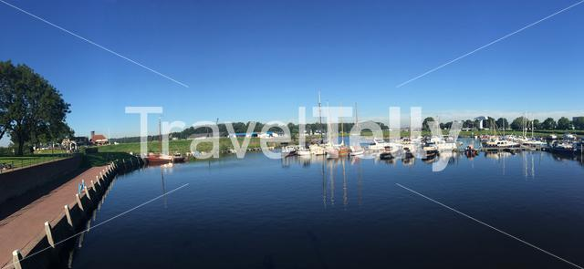 Panorama from boats on a summer day in the harbour of Vollenhove The Netherlands