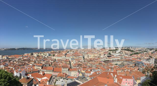 Panorama view from the Castelo de S. Jorge overlooking the historical center of Lisbon Portugal