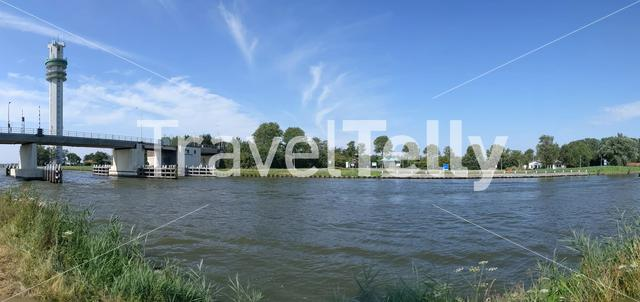Panorama from a Princess margriet canal in Spannenburg, Friesland The Netherlands