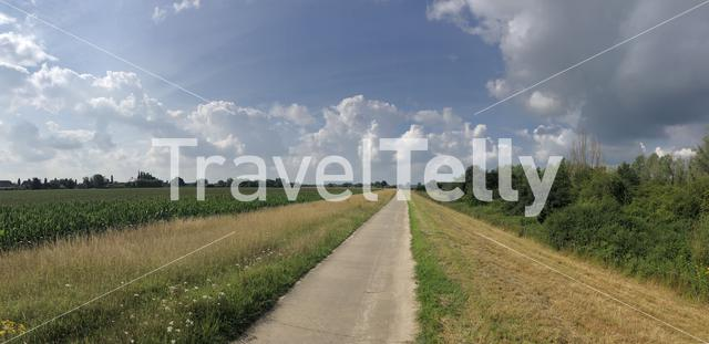 Landscape panoramic from around Olburgen in The Netherlands
