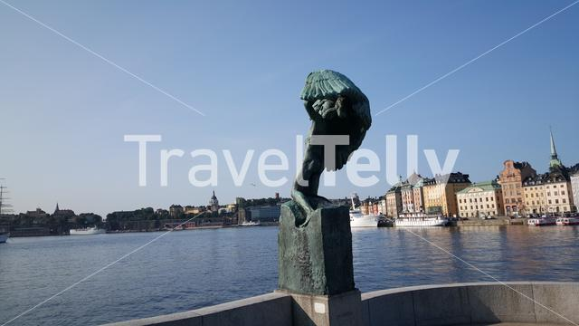 Vingarna (The Wings) statue with Gamla stan old town the background in Stockholm Sweden