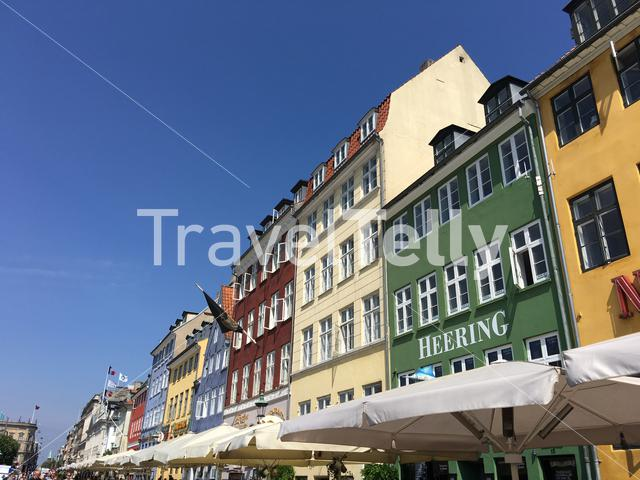 Buildings at Nyhavn (New Harbour) a 17th-century waterfront, canal and entertainment district in Copenhagen, Denmark