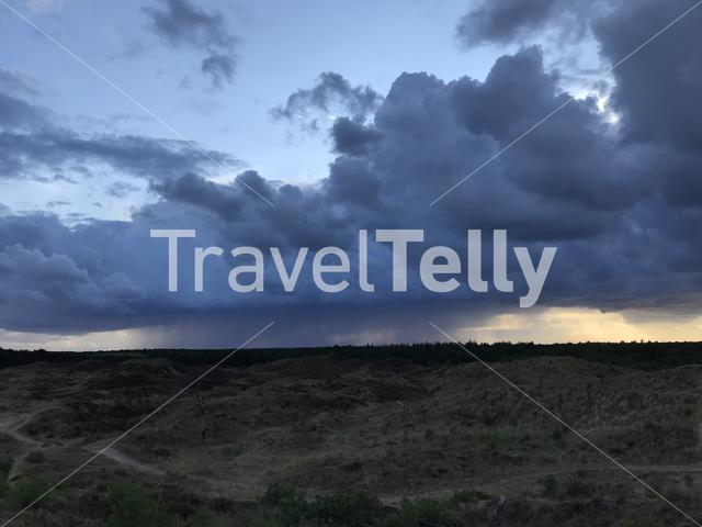 Rain clouds above Terschelling island in The Netherlands