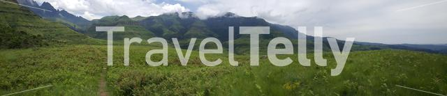 Panorama from Hiking path at Natal Drakensberg National Park in South Africa in South Africa