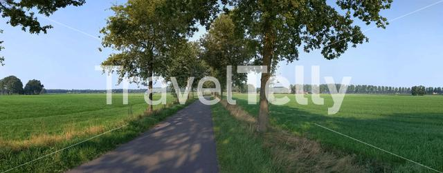Panorama from a road around Linde in The Netherlands