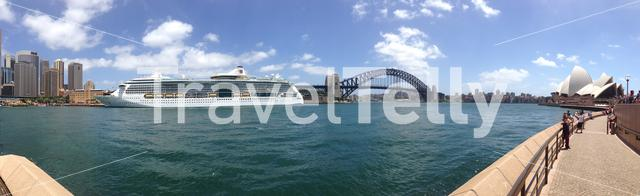 Panorama from Circular Quay with the Harbour Bridge and Opera house in Sydney