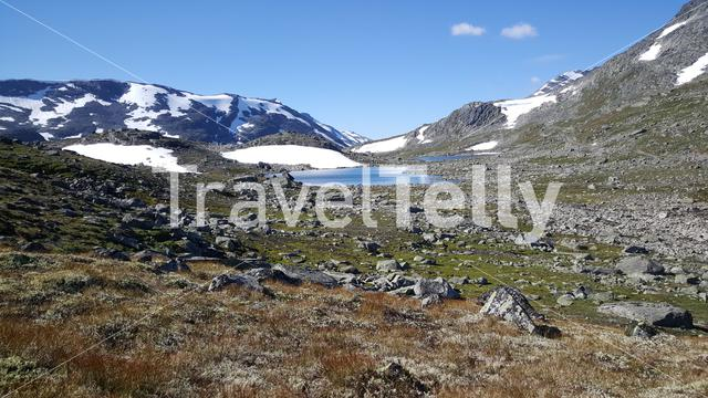 Snow at the mountains of Jotunheimen National Park Norway