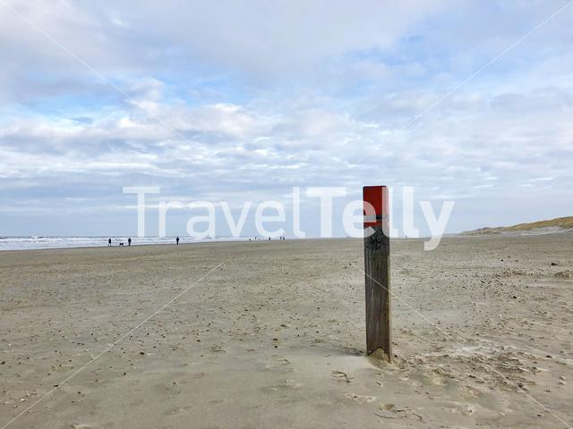 Pole at Texel beach in The Netherlands