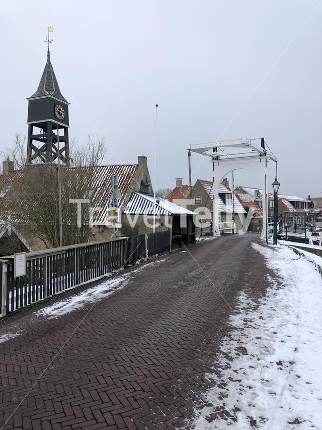 Hindeloopen during winter in Friesland The Netherlands