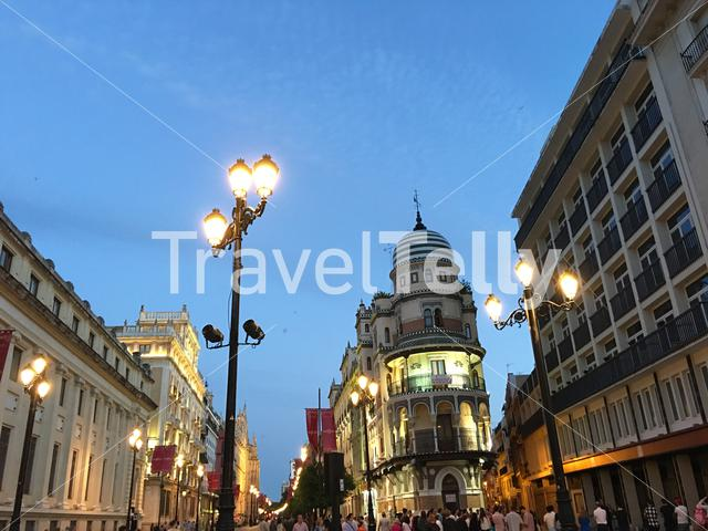 Av. de la Constitucion at night in Seville Spain