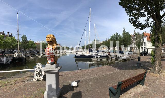 Panorama from the Lion's Bridge in Harlingen, Friesland The Netherlands