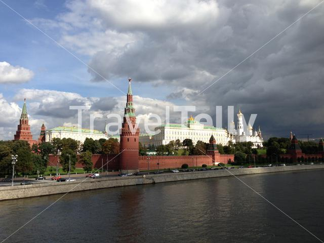 Moskva River with dark clouds above the kremlin in Moscow, Russia