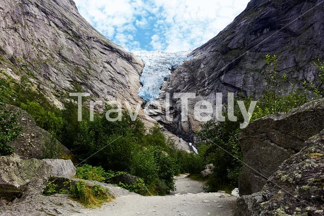 The Briksdalsbreen glacier in Jostedalsbreen National Park in Norway.