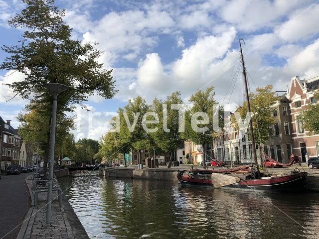 Canal around the old town of Groningen The Netherlands