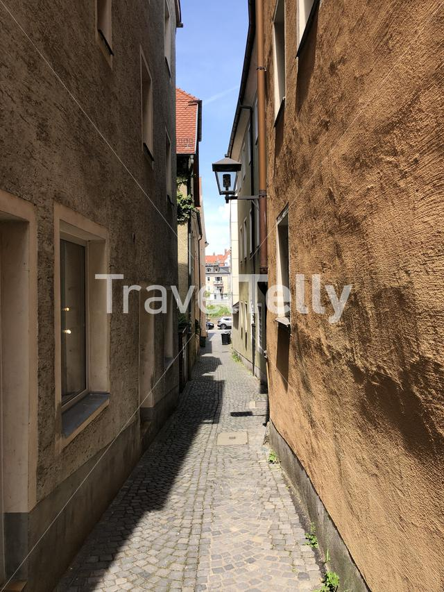 Alley in the old town of Regensburg, Germany