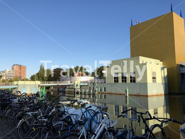Bicycles in front of the Groninger museum in Groningen The Netherlands