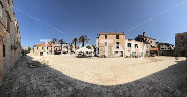 Panorama from the square at the Tvrdalj Castle in Stari Grad Croatia