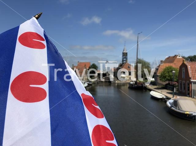 Frisian flag in Hindeloopen, Friesland The Netherlands