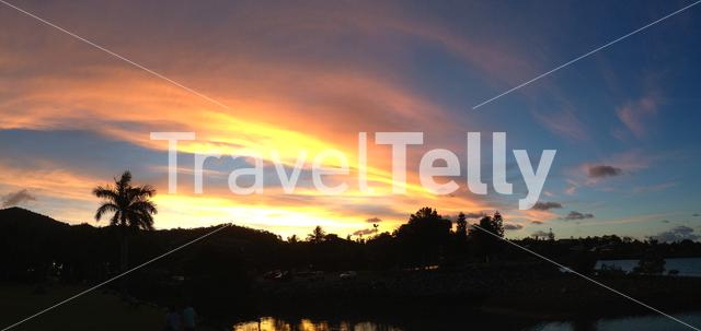 Sunset at Airlie Beach panorama in Australia