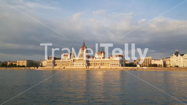 The Hungarian Parliament Building (Parliament of Budapest) during sunset