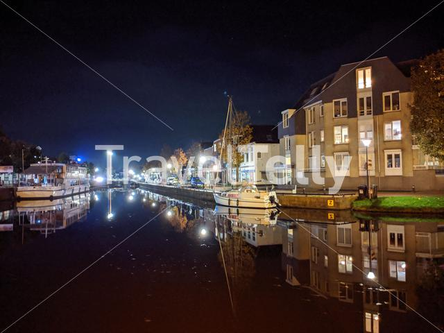 Canal at night in Sneek, Friesland, The Netherlands