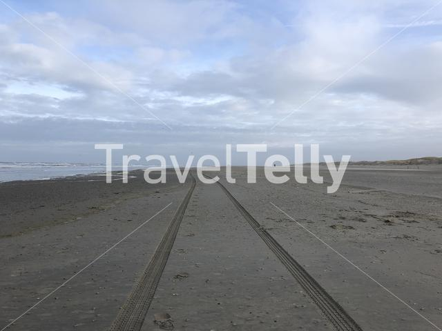 Car track at Texel beach in The Netherlands