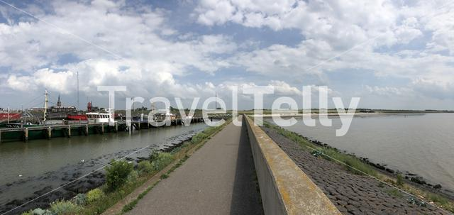 Panorama from the Havenmond and waddensea in Harlingen, Friesland The Netherlands