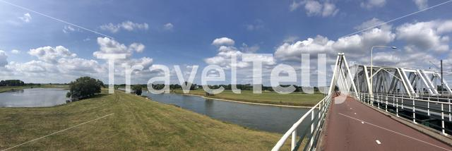 Panorama from a bridge over the IJssel from Westervoort to Arnhem in The Netherlands