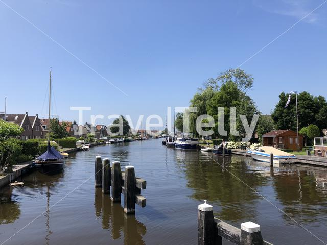 Canal in Lemmer, Friesland The Netherlands