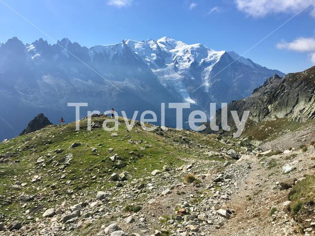 View of the Mont Blanc from l'Index chairlift in the French Alps.