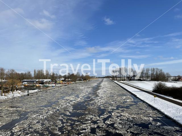 Ice in the Prinses Margriet canal in Friesland, The Netherlands