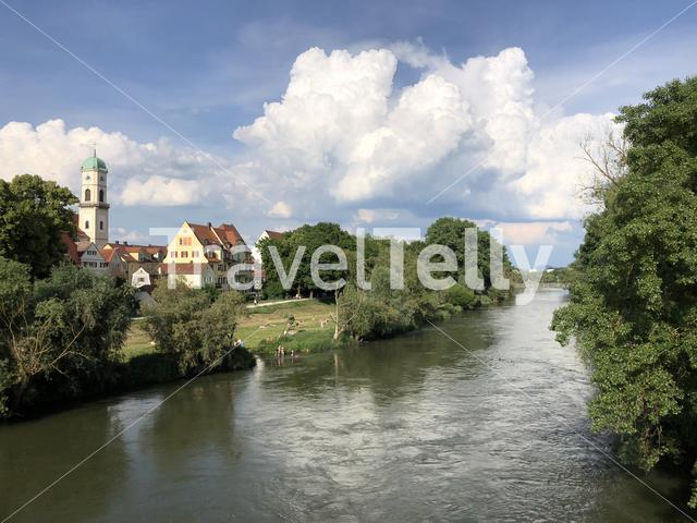 Danube river in Regensburg Germany