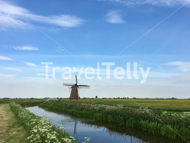 A windmill just south of Leeuwarden, the Netherlands, on a warm spring afternoon.