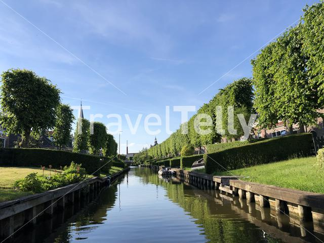 Canal in IJlst, Friesland The Netherlands