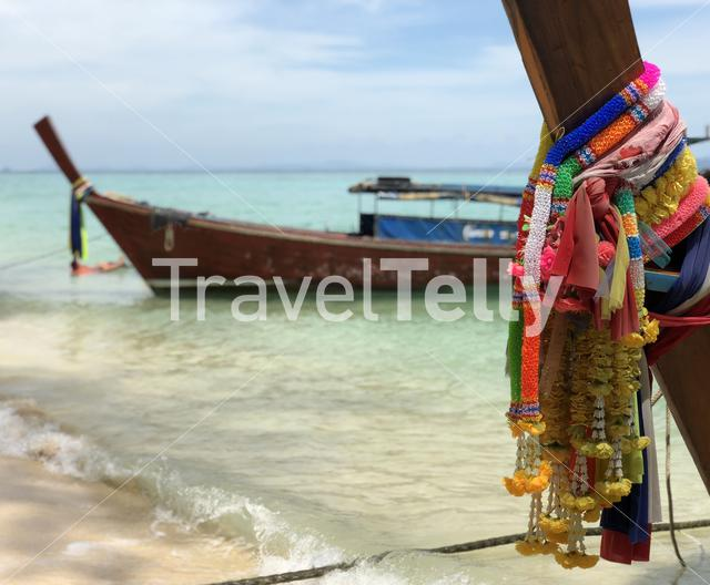 Long-tail boats at beach on Koh Ngai Thailand