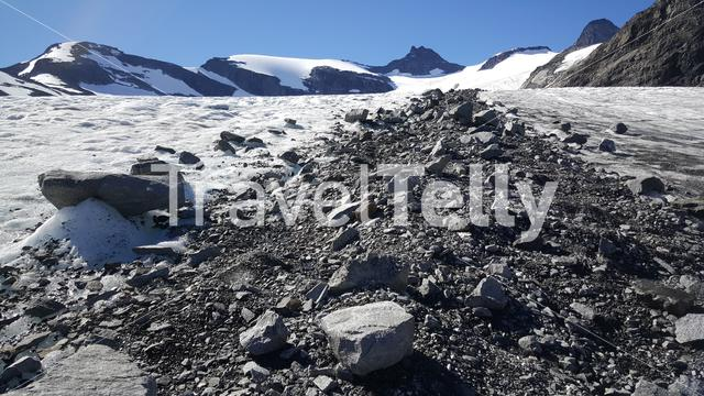 Path to the top with rocks at Jotunheimen National Park Norway