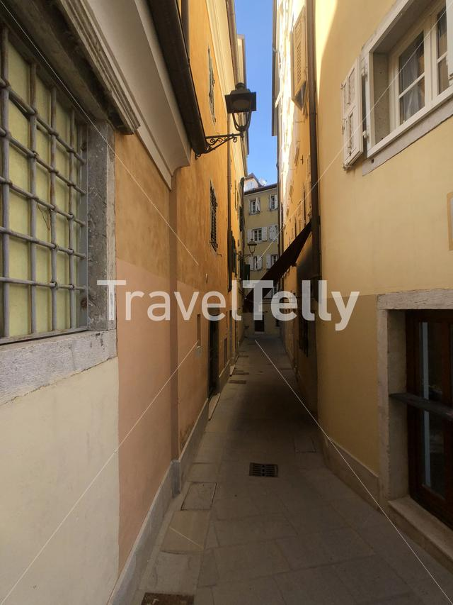 Street in the old town of Trieste, Italy