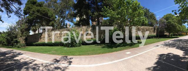 Panorama from the wall of the riverbed at the Turia Gardens in Valencia Spain