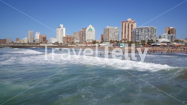 Beach of Durban, a coastal city in eastern South Africa