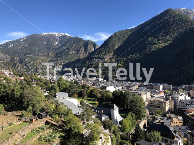 Aerial view from mountains around the city Andorra la Vella