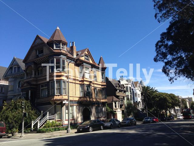 Beautiful houses in Fell street Across the Panhandle park in San Francisco