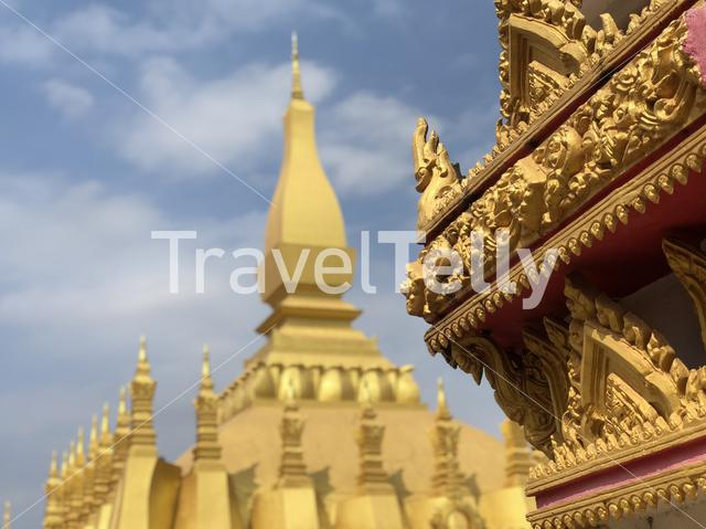 Gold Buddhist stupa Pha That Luang Vientiane in Laos