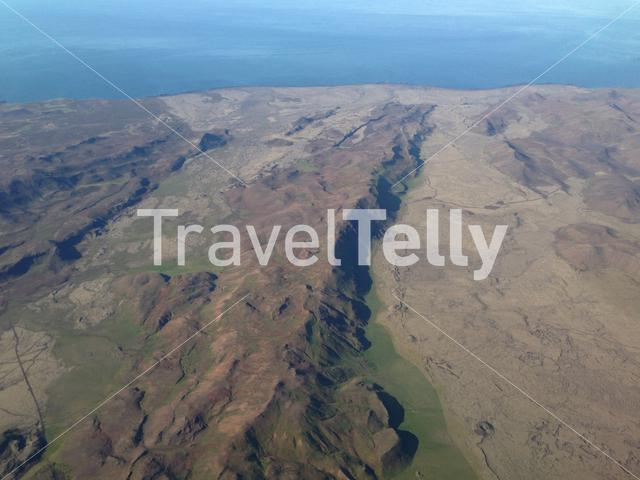 Flying over mountain landscape Iceland