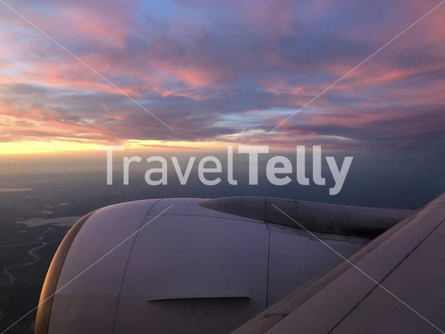 Sunset when flying above Europe