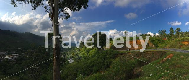 Panorama from a mountain view landscape in Uva Province Sri Lanka