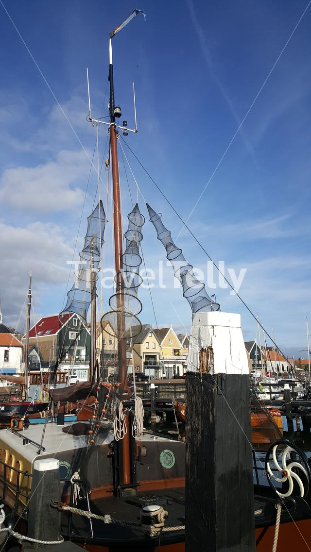 Fishingboat in harbor of Urk, the Netherlands