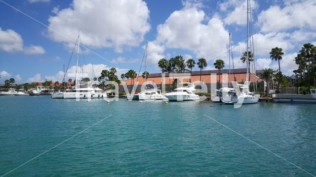 Harbour with boats in Oranjestad at Aruba