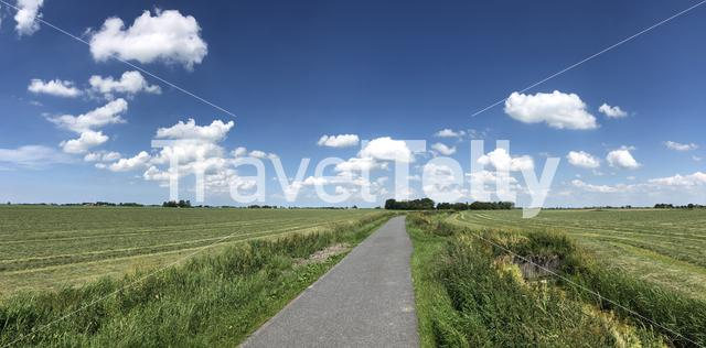 Panorama from farmland around Burgwerd in Friesland, The Netherlands