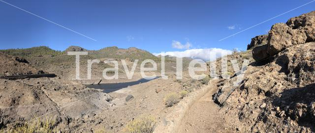 Panoramic scenery around Las Ninas Reservoir on Gran Canaria